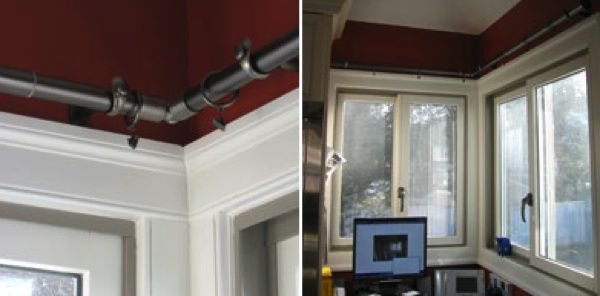 Foyer Entrance Yeast : Window treatment idea corner rod