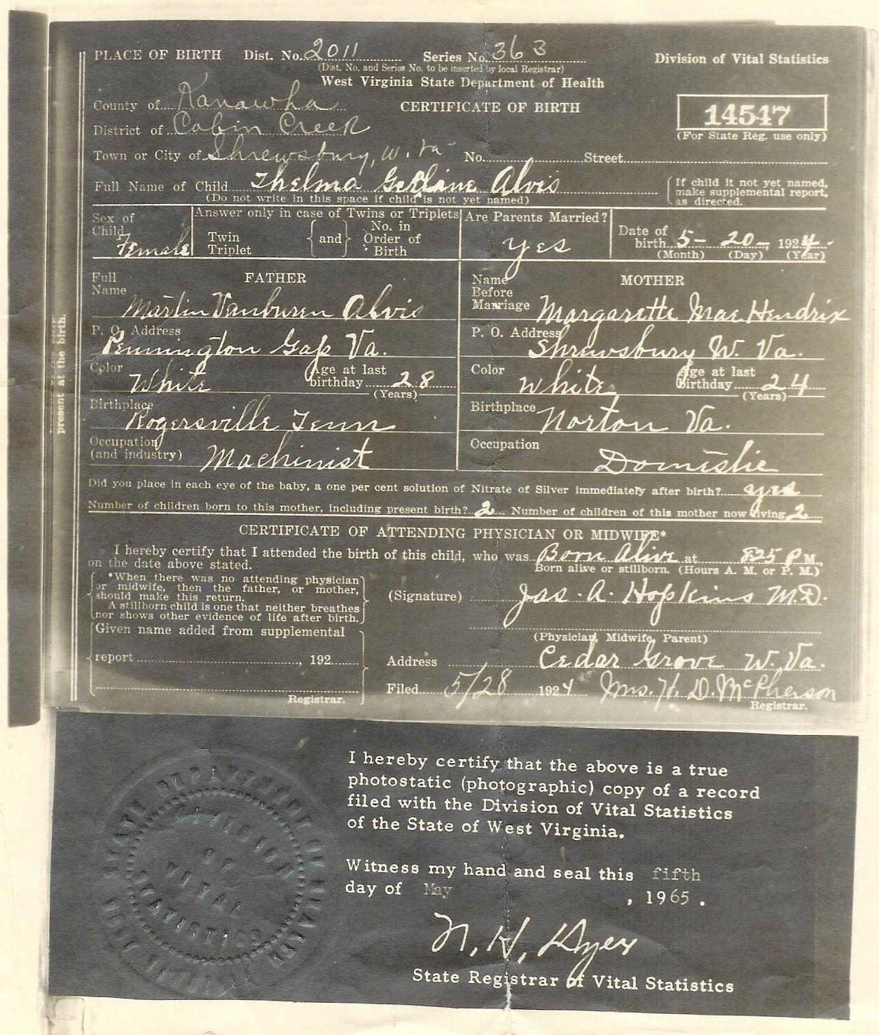 Birth Certificate Of Geraldine Alvis B1924 West Virginia Photo