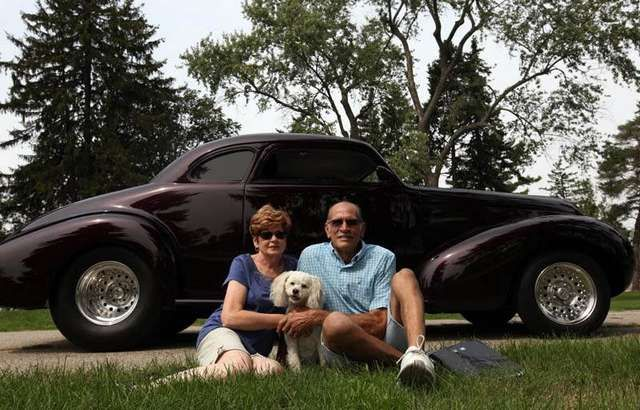 Judy and Jim Jidas of Clarkston, their dog Bailey and their 1939 Buick Model 40 are attending the Woodward Dream Cruise in Royal Oak, Thursday, August 16,  2012.   SUSAN TUSA/Detroit Free Press