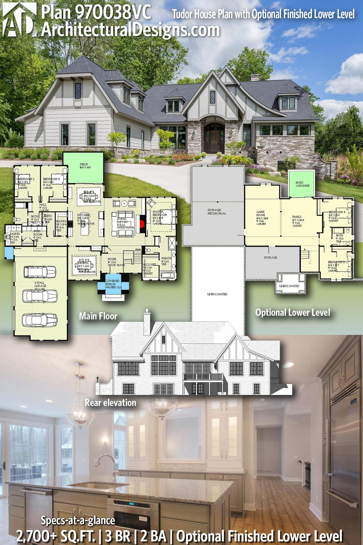 Plan 970038vc Tudor House Plan With Optional Finished