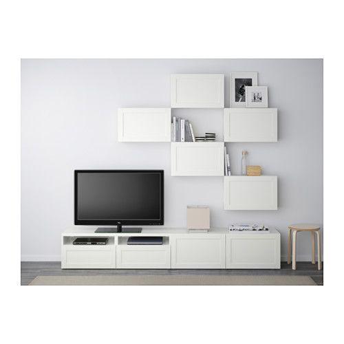 BESTÅ TV-Möbel, Kombination - Hanviken weiß, Schubladenschiene