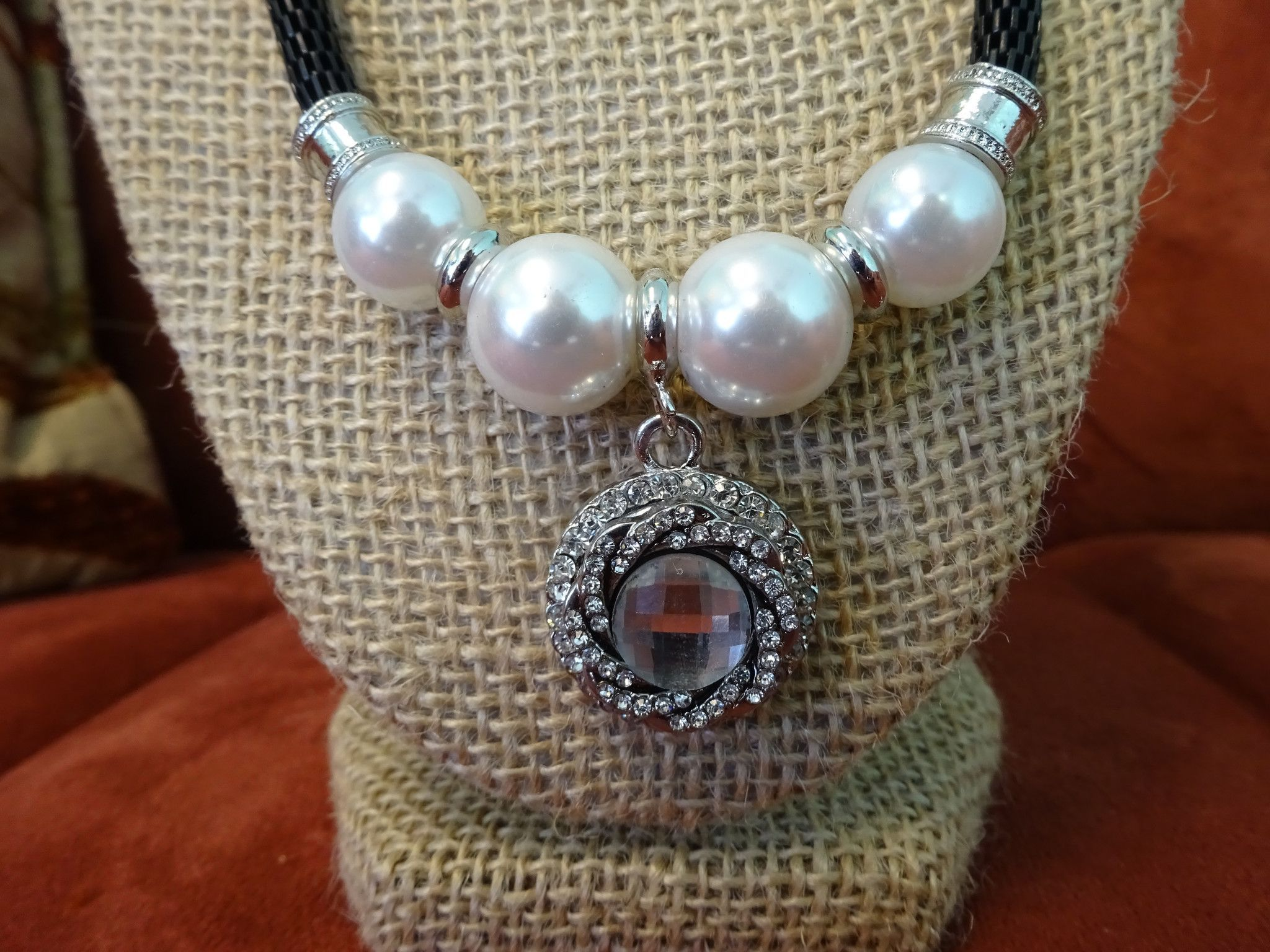 Pearl Necklace with Cord and White Crystal Popper