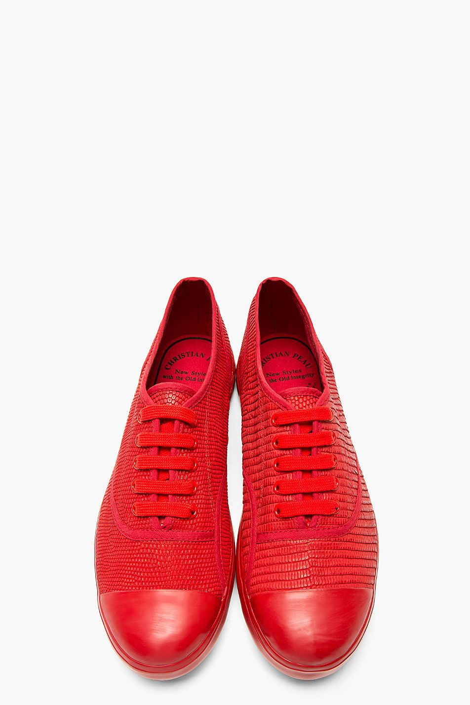 CHRISTIAN PEAU Crimson Red Snakeskin Canvas Low Top Sneakers.