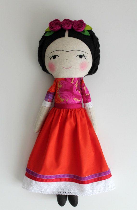 Frida Kahlo handgemaakte pop. Rag doll te verfraaien en te