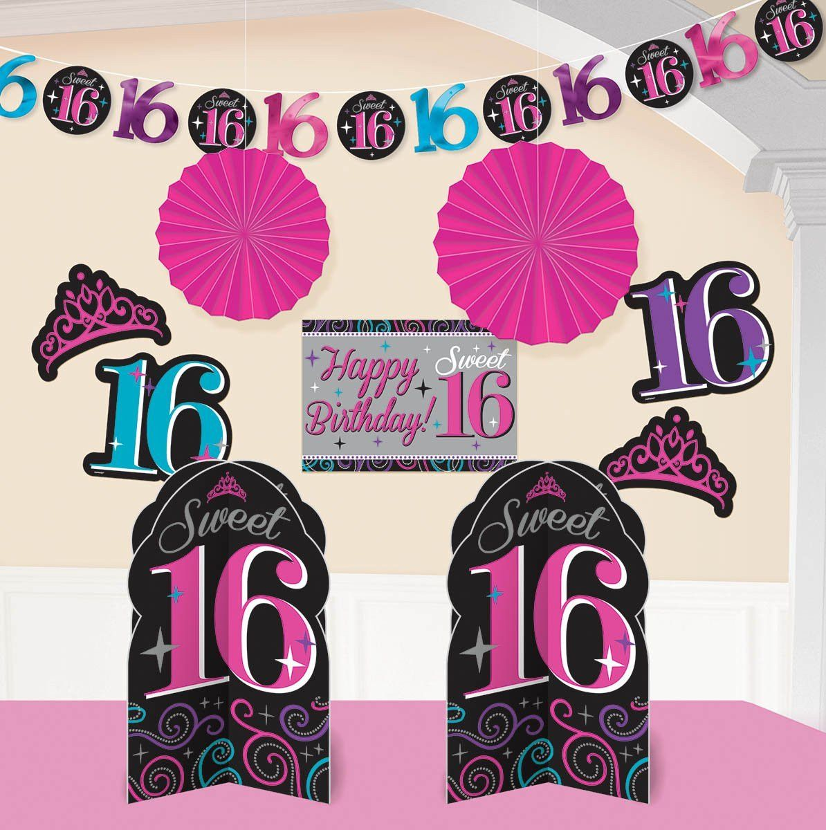 Sweet 16 Celebration Room Decorating Kit 10 Pieces