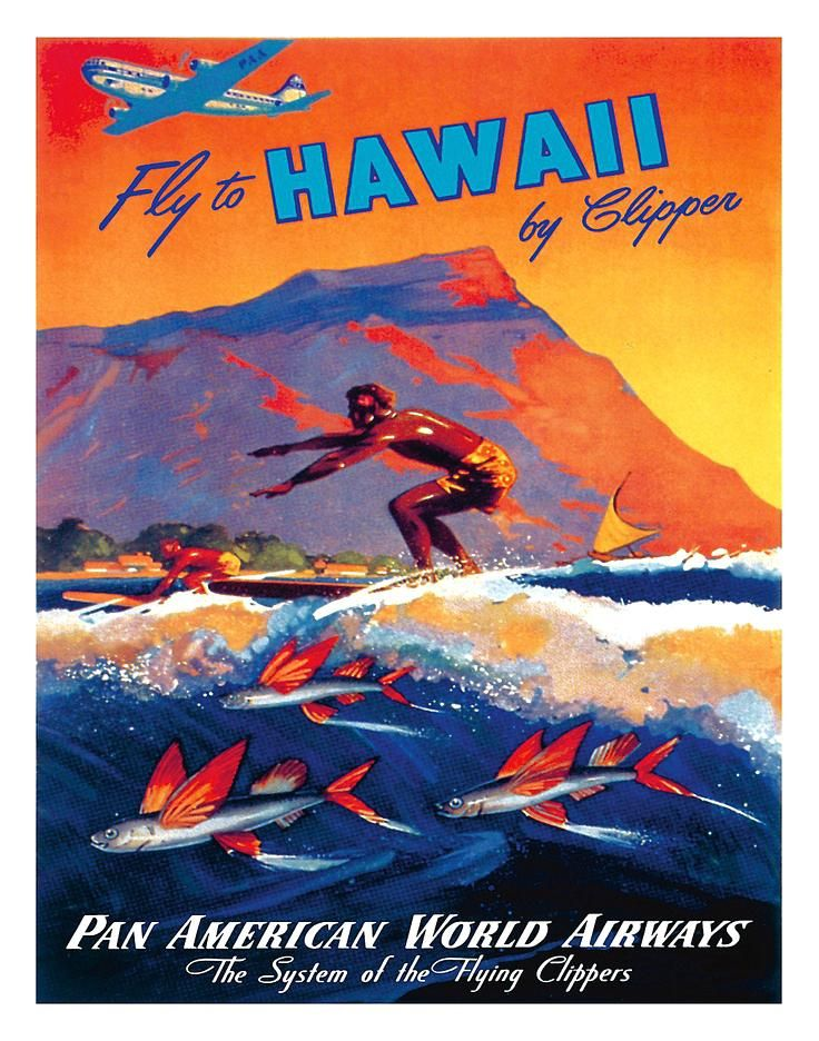 Vintage hawaii travel posters poster fly to pan am home interiors catalogo usa also rh in pinterest