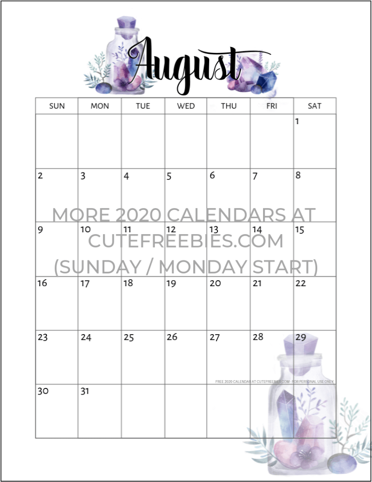 Free Printable 2020 2021 Calendar Pdf Crystal Gems Cute Freebies For You Free Printable Monthly Planner Free Printable Calendar Calendar