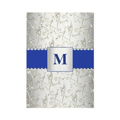 elegant monogram royal blue and silver swirl wedding invitations