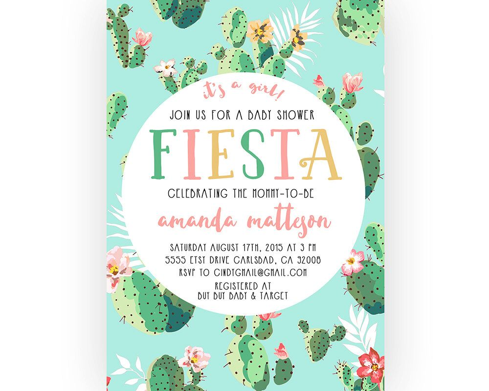 Fiesta Baby Shower Invitation, Cactus, Boho, Printable Invites (572 ...