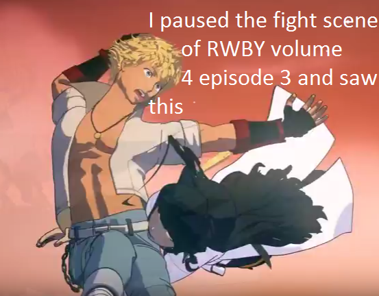 I paused the fight scene of RWBY volume 4 episode 3 and saw