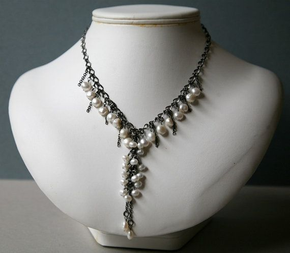 Cascading Freshwater Pearls and Gunmetal Necklace