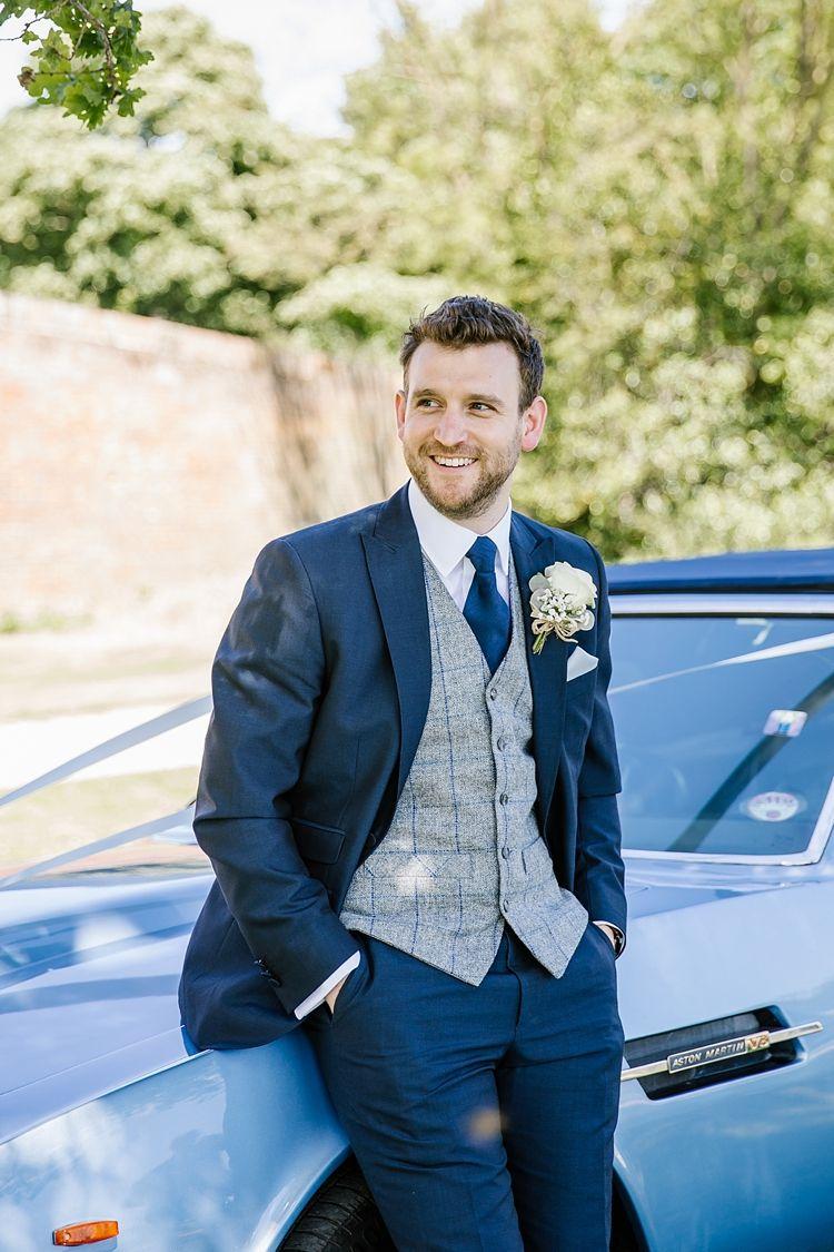 2e16f96170a7 Groom Navy Suit Grey Waistcoat Graceful Country Cottage Garden Wedding  https   katherineashdown.