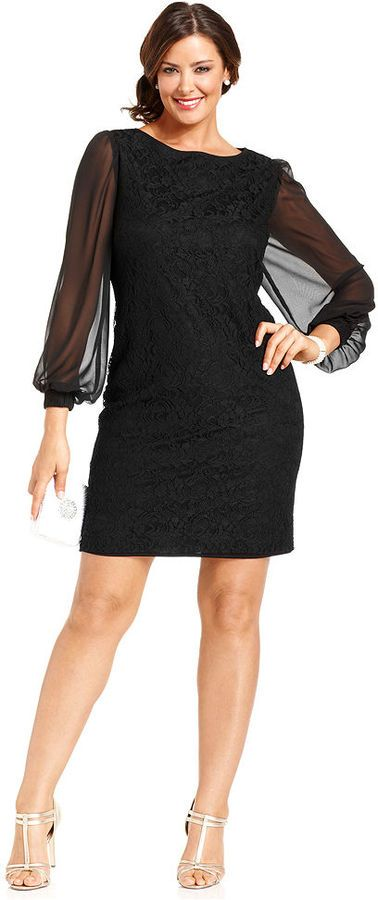 7228670acc8f SL Fashions Plus Size Dress, Long-Sleeve Lace Sheath | Plus-Sized ...
