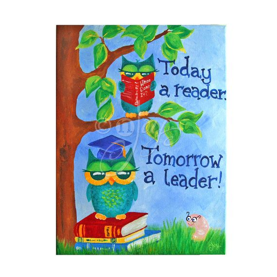Art For Kids Today A READER Tomorrow LEADER Owls12x16 Canvas