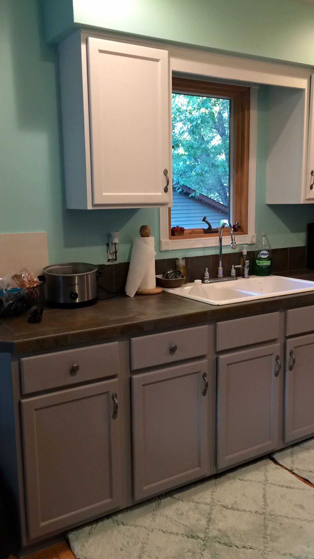 Working On Our Kitchen Sherwin Williams Tame Teal Proper Grey And Extra White So Happy Home Kitchens Kitchen Decor Teal Kitchen