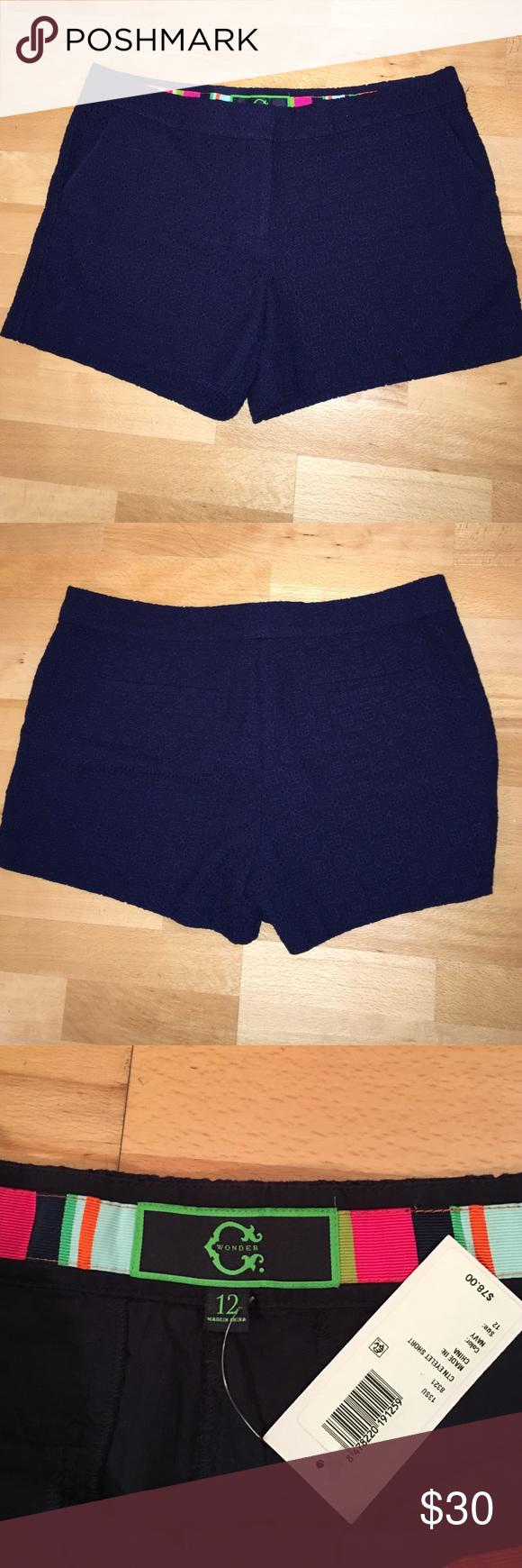 C wonder navy eyelet shorts size 12 Side pockets navy eyelet shorts brand new c wonder Shorts