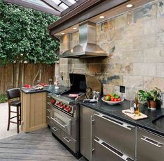 Outdoor Kitchen Counter With Soffit Above With Lights Large Stone Tiles On Back Wall R Small Outdoor Kitchens Outdoor Kitchen Design Kitchen Cupboard Designs