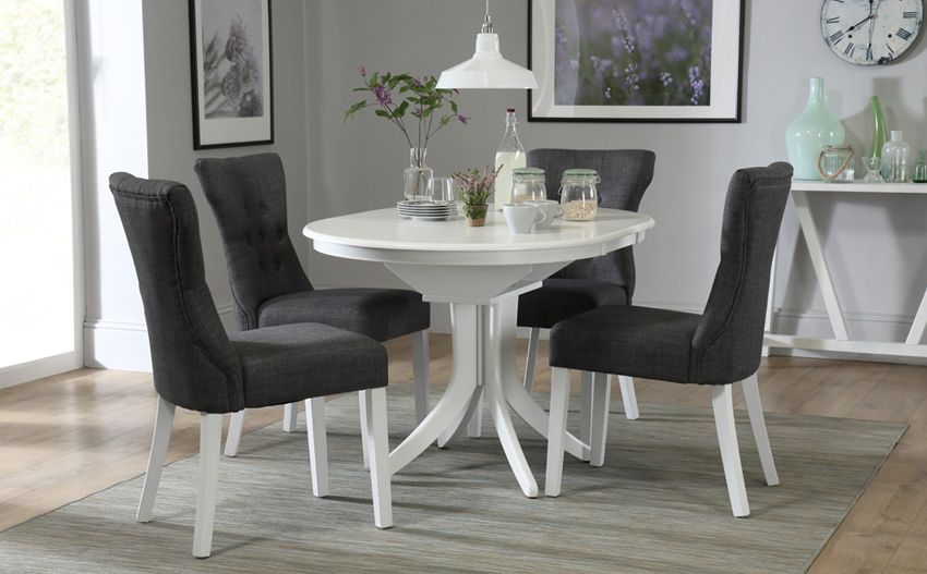 Hudson Round White Extending Dining Table With Bewley Slate