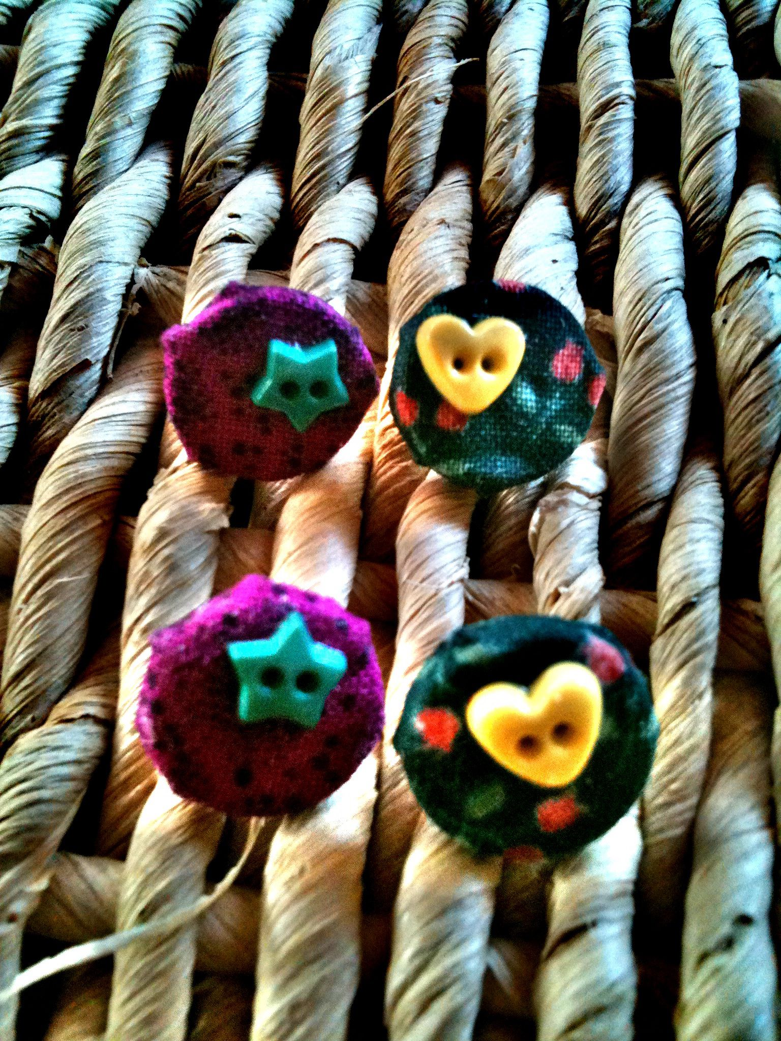 Vintage fabric double button earrings