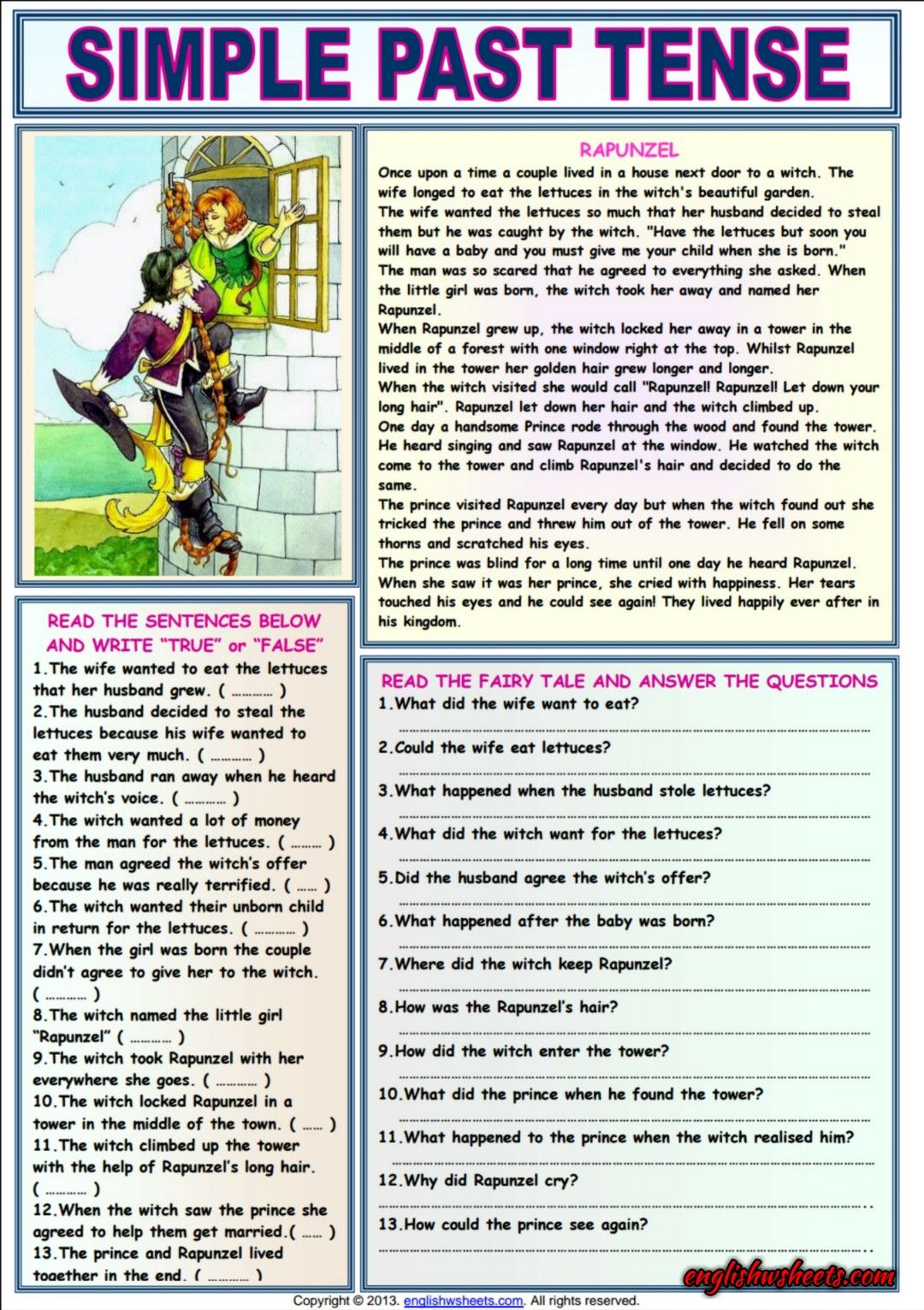 Rapunzel Comprehension Esl Exercises Worksheet Simple Past Tense Past Tense English Worksheets For Kids [ 1531 x 1080 Pixel ]