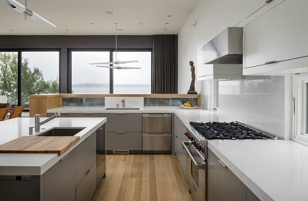 Modern contemporary kitchen with white caesarstone for Modern white and gray kitchen