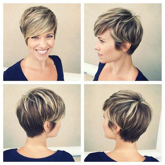 Image Result For Blonde To Brunette Pixie Longer Pixie Haircut Brown Hair With Blonde Highlights Short Hair Styles Pixie