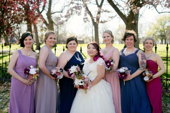 a6a48c7c00 Multi Colored Wedding Party  Carissa in Wisteria