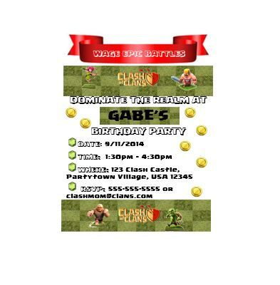 Clash of Clans Invite Clash of Clans Invitation Party Supplies