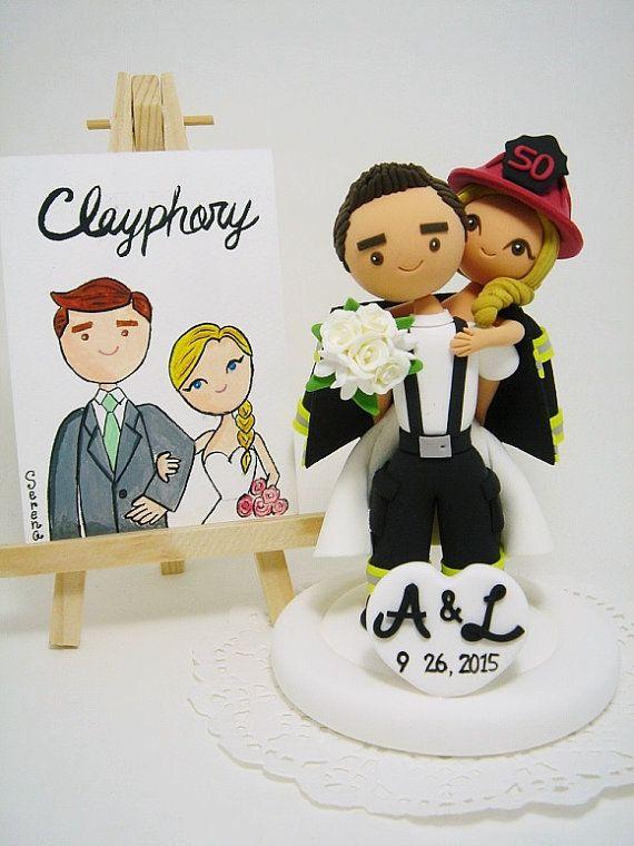 Firefighter custom wedding cake topper   NOVIOS   Pinterest ...