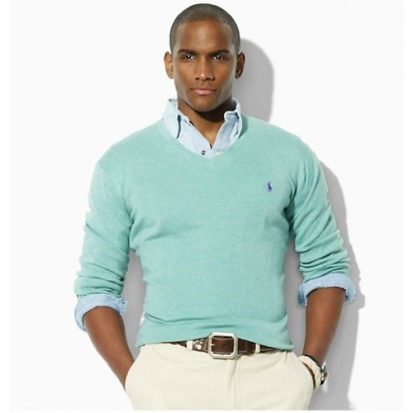 Ralph Lauren Men Skyblue Mesh V neck Sweaters http://www.ralph ...