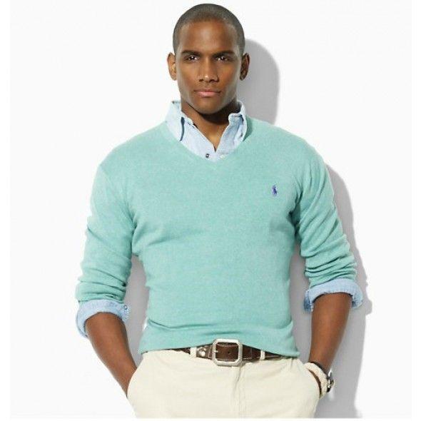 Men Shop Perfect Guarantee Ralph Lauren Skyblue Mesh V Neck Sweaters