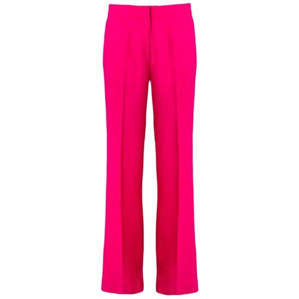 Andrea Marques wide leg trousers ($123) ❤ liked on Polyvore featuring pants, pink, wide leg pants, pink pants, pink trousers, wide leg trousers and flat front pants