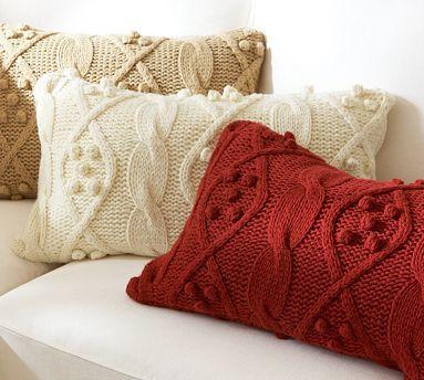 Cute! Pillows from Pottery Barn ~~  Why buy them....Goodwill & salvation army have tons of beautiful sweaters to create these from. Add bed pillows from Big lots & your done