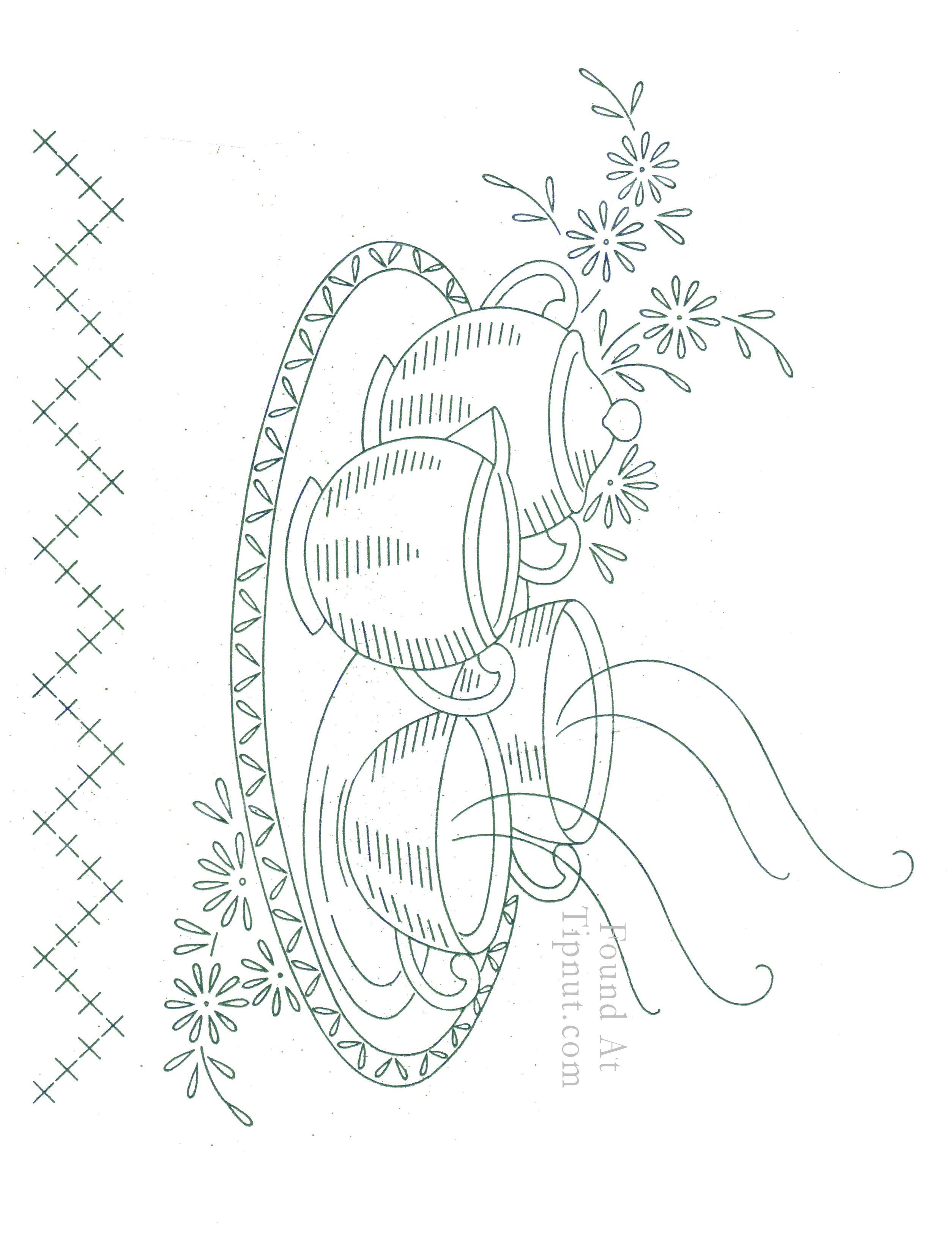 Vintage Embroidery Patterns | Vintage Embroidery Designs: Dishware ...
