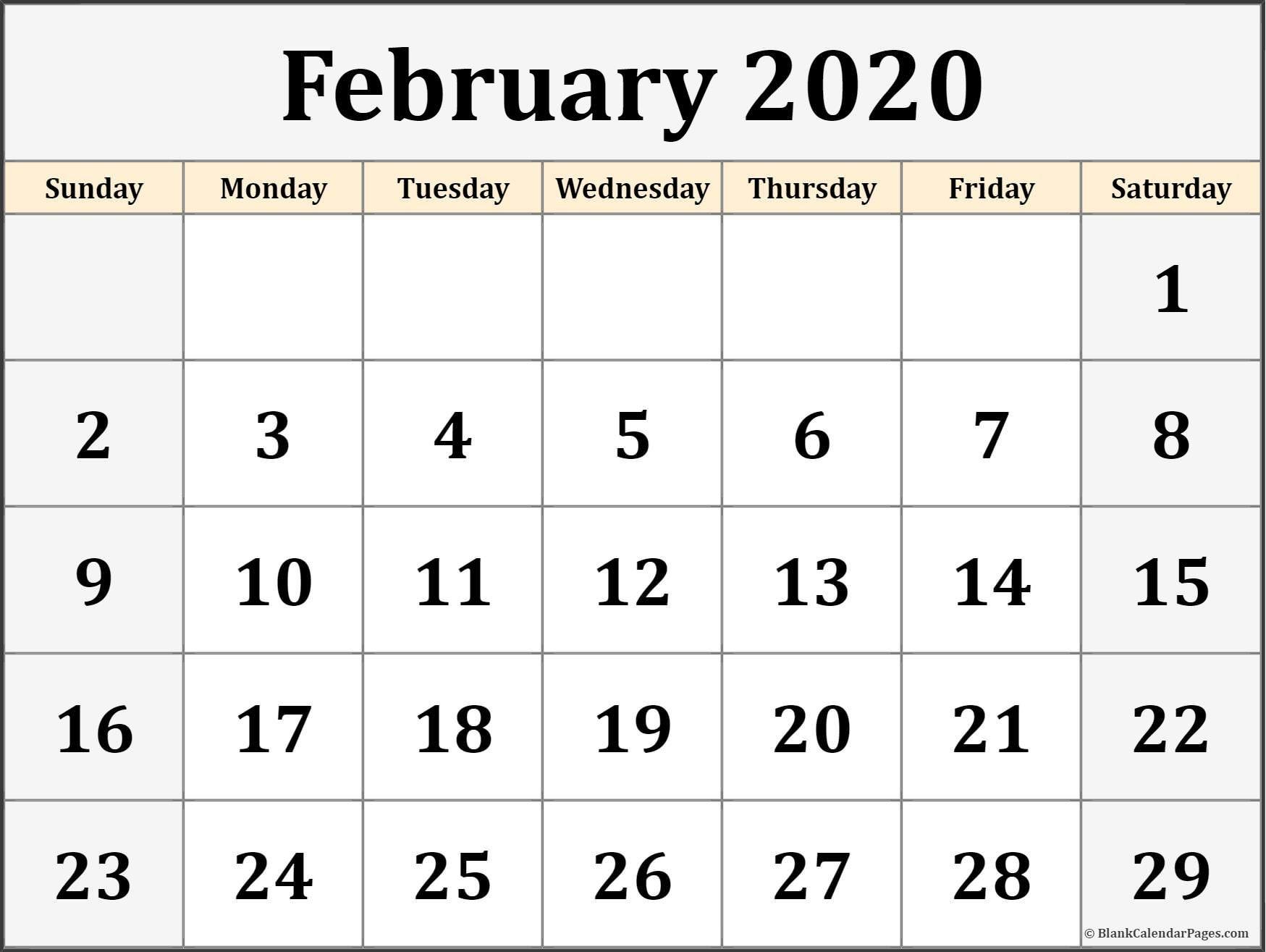 February Calendar 2020 Printable Design Template Free Printable