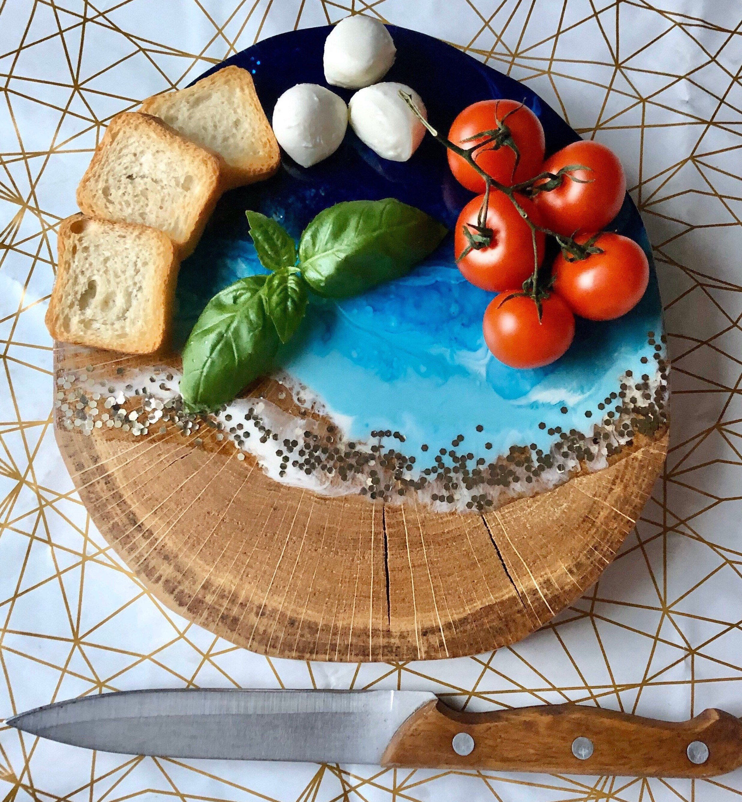 Epoxy resin and oak sea inspiered cake stand rustic