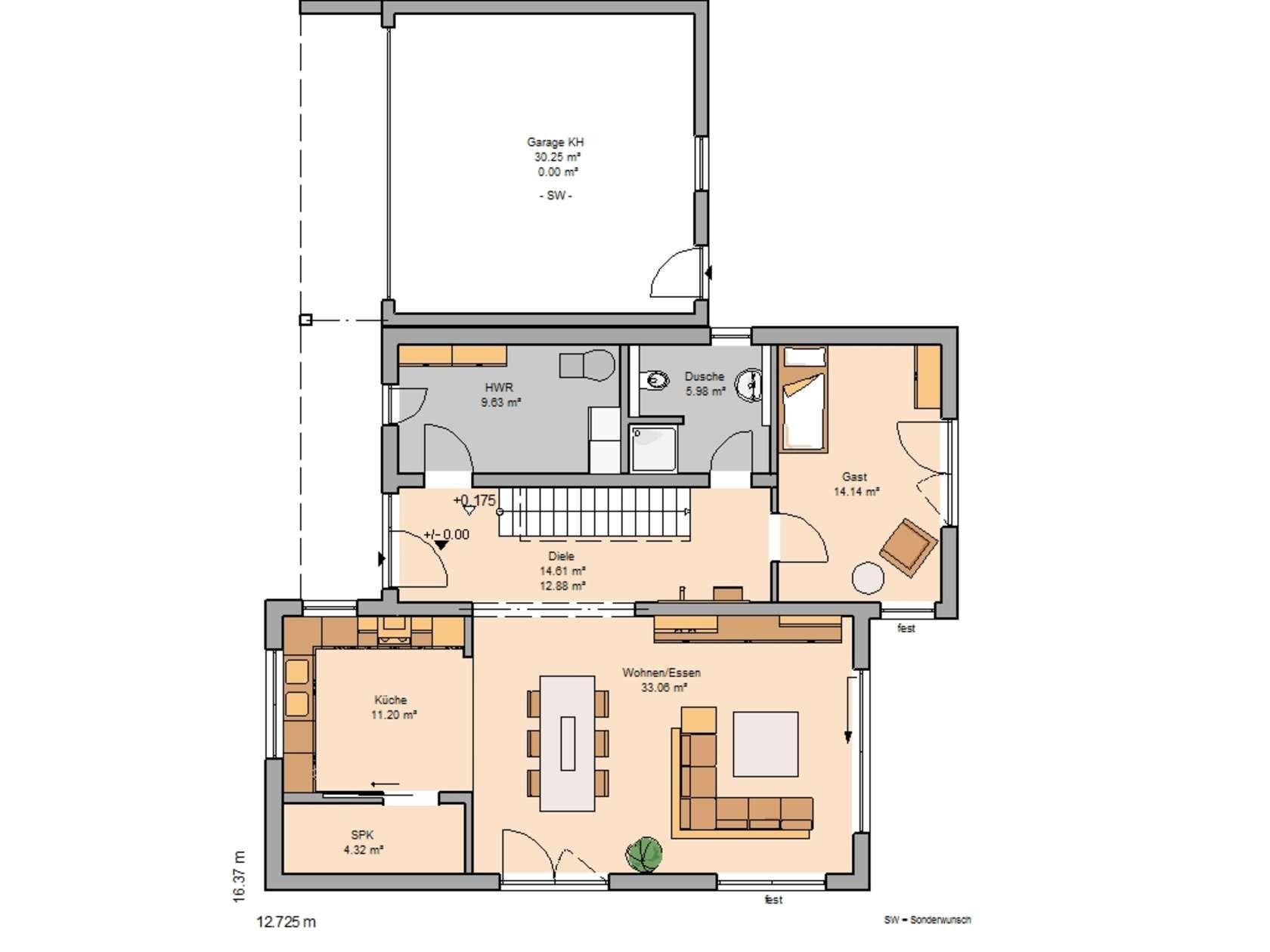Bauhäuser Haus grundriss, Haus und Kern haus