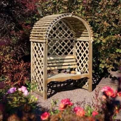 Bosmere English Garden 53 In X 79 In Victorian Wood Arbor With Seat Natural Gardening Wooden Arbor Garden Arbor Garden Seating