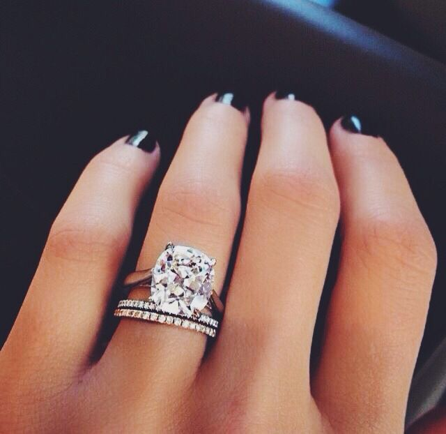 Oval Cushion Cut Diamond Engagement Ring With 2 Thin Eternity Bands Jewelry Pinterest And