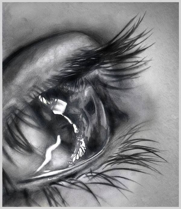 Pencil drawing wow looks so real love the long natural eyelashes and the way the artist shows such emotion in this