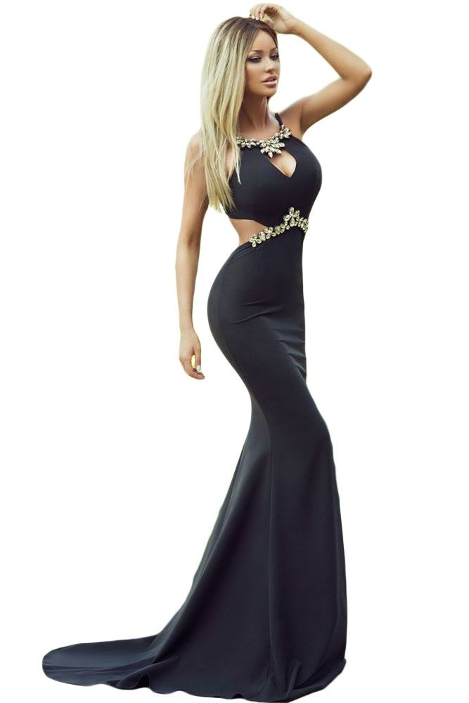 e61f95c28 Diamond Embellished Sexy Cutout Black Mermaid Prom Dress - NOVASHE ...