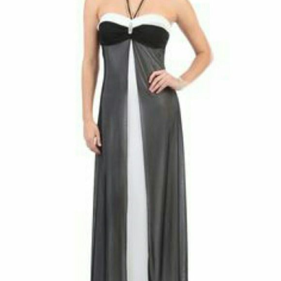 Prom dress Halter style, padded, worn once!  Bandeau with two halter straps that tie at neck. Same style as cover photo except all black. Deb Dresses