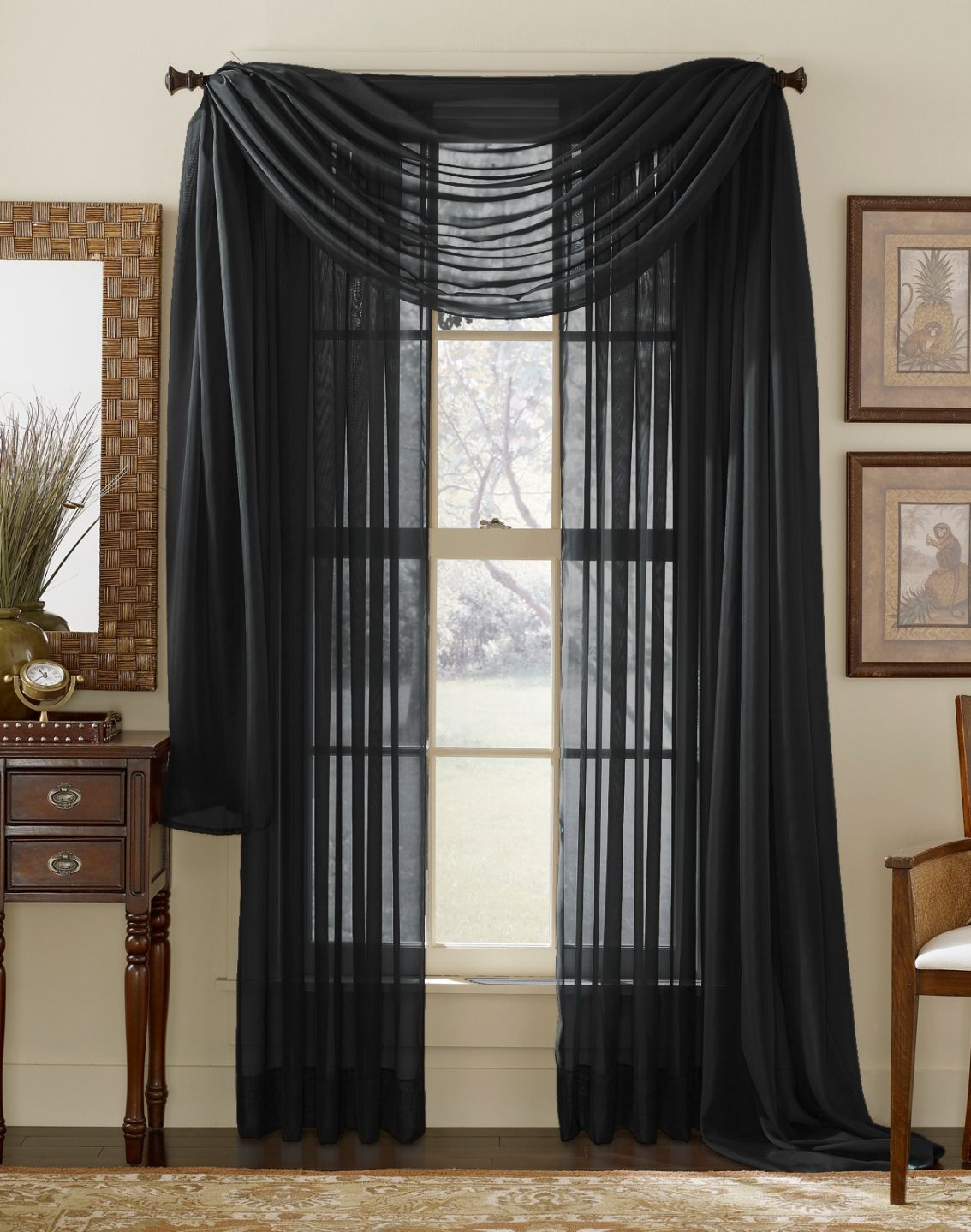 Elegance Sheer Onyx Black Black Sheer Curtains Voile