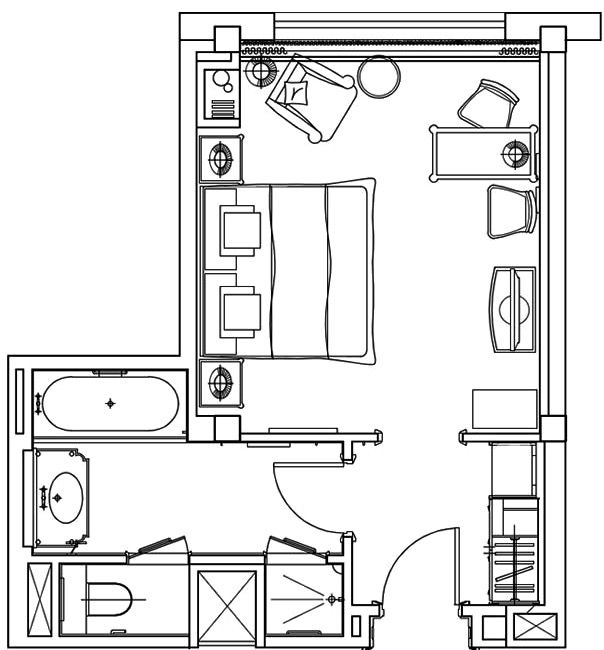 The Langham London Deluxe Room 33m2 355ft2 Hotel Room Plan Hotel Room Design Small Hotel Room