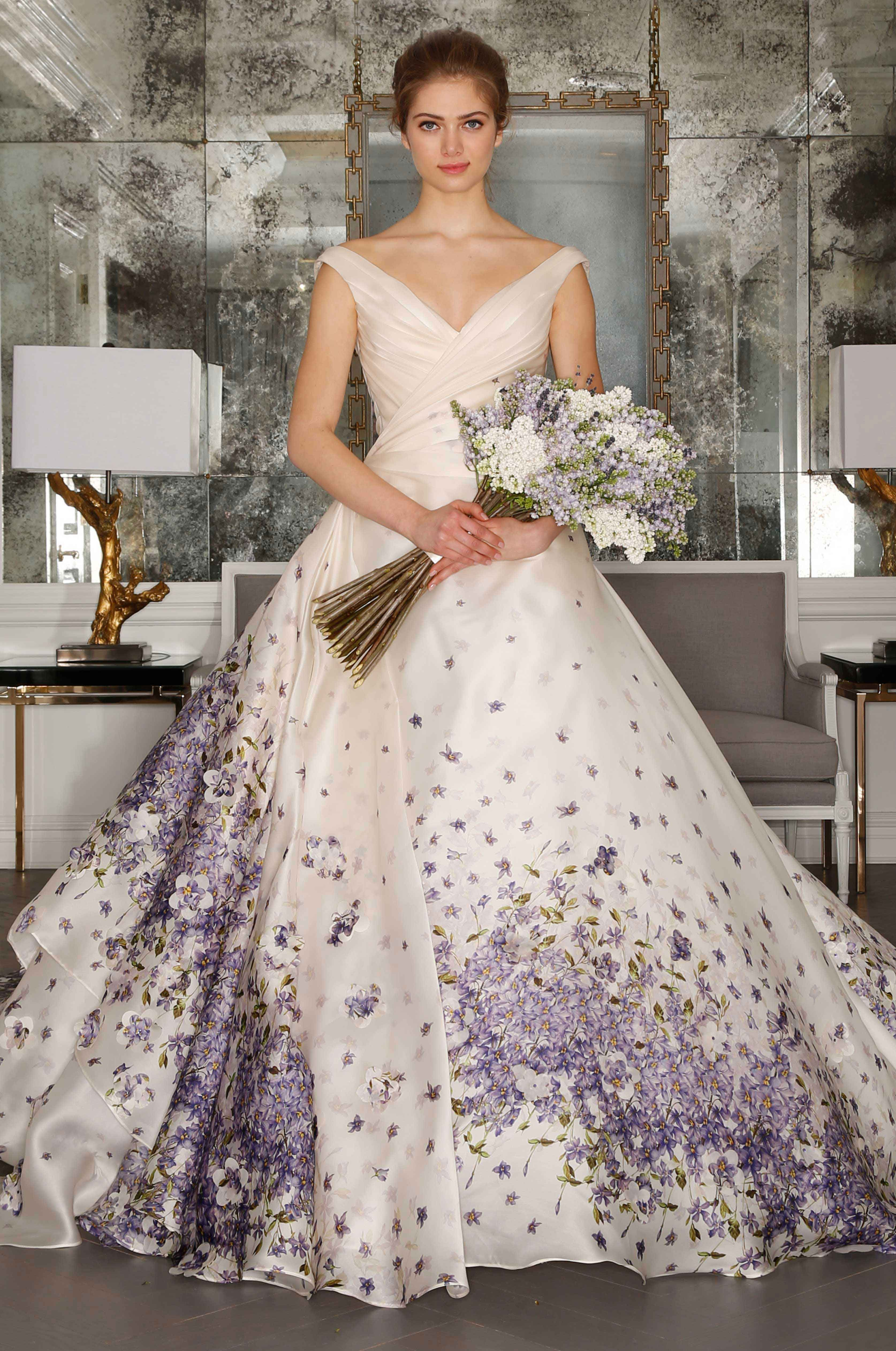 16 Floral Print Wedding Dresses for Trendy Brides | PURPLE GOWNS ...