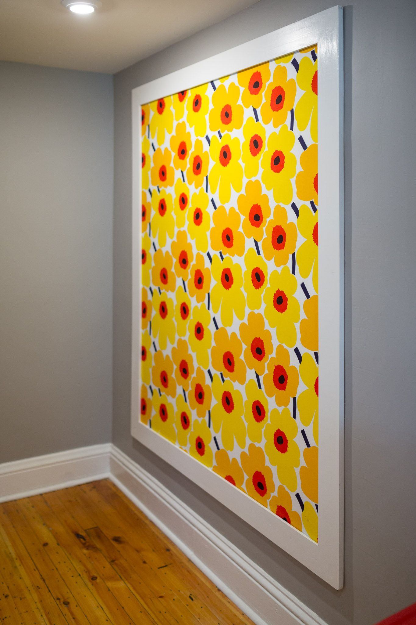 Marimekko fabric covers this huge cork board - art and organization ...