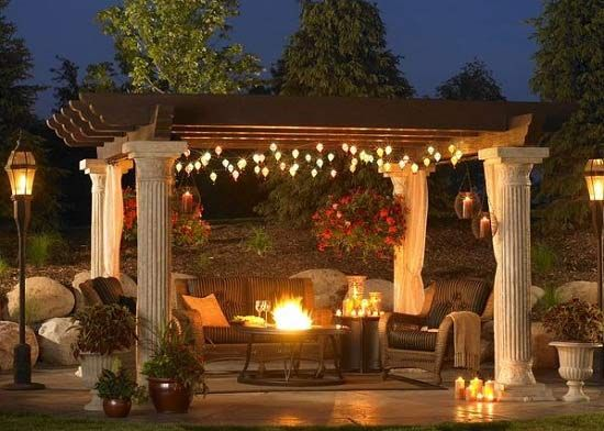 Backyard Patio · Backyard Pergola With Patio Lights