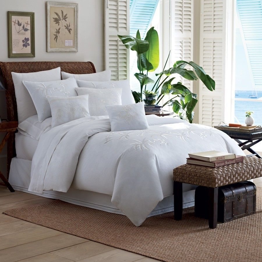 Tommy Bahama TROPICAL HIDEAWAY White Embroidery KING Duvet