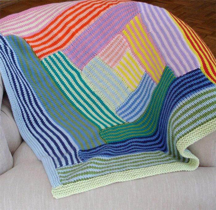Knitting Pattern For Striped Log Cabin Baby Blanket Knit With A