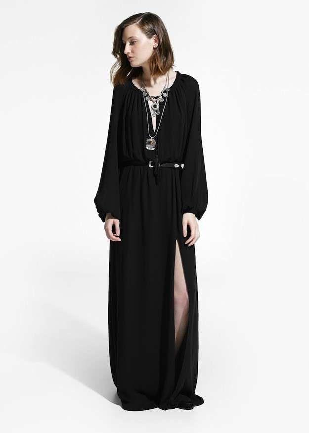 0124298c0 Estilo boho chic  fotos de los looks - Mango vestido largo boho negro